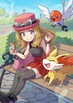1girl bench black_legwear blush bracelet bush closed_mouth day eyelashes eyewear_on_headwear fennekin fletchling gen_6_pokemon grass grey_eyes hat highres holding jewelry lens_flare light_brown_hair long_hair outdoors peron_(niki2ki884) pink_bag pink_headwear pleated_skirt pokemon pokemon_(game) pokemon_xy red_skirt serena_(pokemon) shoes sitting skirt sky smile starter_pokemon sunglasses thigh-highs tower