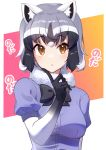1girl animal_ears black_gloves black_hair black_neckwear blue_sweater blush bow bowtie commentary_request common_raccoon_(kemono_friends) elbow_gloves eyebrows_visible_through_hair finger_to_cheek fur_collar gloves grey_hair highres kemono_friends multicolored multicolored_clothes multicolored_gloves multicolored_hair orange_eyes puffy_short_sleeves puffy_sleeves raccoon_ears raccoon_girl short_sleeves solo sweater takom translation_request upper_body white_fur white_gloves white_hair