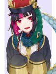1boy bangs bead_necklace beads black_hair blue_background blunt_bangs bob_cut border chinese_clothes commentary_request dragon_tail facial_mark fangs gem hands_up hat highres horns jewelry jiangshi lilia_vanrouge long_sleeves looking_at_viewer multicolored_hair necklace open_mouth pink_eyes pink_hair red_eyes short_hair sleeves_past_fingers sleeves_past_wrists solo tail teeth twisted_wonderland two-tone_hair upper_body white_border younomiti