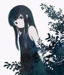 1girl ayu_(mog) bare_shoulders black_dress black_eyes black_hair bush closed_mouth dress head_tilt limited_palette long_hair looking_at_viewer original simple_background solo white_background