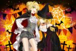 2girls ahoge akamakoto ascot bangs bare_shoulders bat black_cape black_dress black_headwear blonde_hair blush braid breasts brooch cape cross dress dual_persona fangs fate_(series) french_braid green_eyes grey_shorts grey_vest hair_bun hair_intakes halloween_costume hat jewelry large_breasts long_hair long_sleeves looking_at_viewer multiple_girls nero_claudius_(fate) nero_claudius_(fate)_(all) one_eye_closed popped_collar puffy_long_sleeves puffy_sleeves shorts silk smile spider_web thighs tongue tongue_out underbust vampire_costume vest witch_costume witch_hat