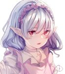 1girl absurdres alternate_costume artist_name blouse choker collarbone commentary_request expressionless hair_between_eyes hairband highres light_blue_hair looking_at_viewer medium_hair open_mouth parted_lips pink_vest pointy_ears portrait red_eyes remilia_scarlet signature simple_background solo touhou upper_body vest wavy_hair white_background white_blouse ydpfa