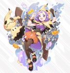 1girl acerola_(pokemon) artist_name bangs black_gloves blush bracelet brown_legwear candy_wrapper commentary cosplay eyelashes fangs gen_7_pokemon gloves hands_up highres hood hood_up jewelry kusuribe mimikyu mimikyu_(cosplay) open_mouth pokemon pokemon_(creature) pokemon_(game) pokemon_masters_ex purple_hair shoes single_glove smile tongue
