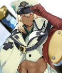 1girl abs adjusting_clothes adjusting_headwear bandaged_arm bandages cloak clover dark_skin floating_swords four-leaf_clover gaien_(jin_morisono) guilty_gear guilty_gear_strive hat high_collar highres huge_weapon lips looking_at_viewer medium_hair midriff navel orange_eyes parted_lips platinum_blonde_hair ramlethal_valentine soft_focus solo sword sword_behind_back upper_teeth weapon white_background
