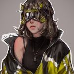 1girl brown_hair collar cyberpunk dasha_art goggles highres jacket lips original punk science_fiction short_hair solo
