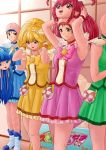 4girls actress anigurum animegao armpits blonde_hair blue_eyes blue_hair blush bob_cut bodysuit boots breasts brown_eyes brown_hair cosplay costume cure_beauty cure_beauty_(cosplay) cure_happy cure_happy_(cosplay) cure_march cure_march_(cosplay) cure_peace cure_peace_(cosplay) dress dressing highres idol indoors kigurumi large_breasts legs long_hair mask mask_on_head medium_breasts multiple_girls ponytail precure red_eyes redhead short_hair skirt smile_precure! standing thighs twintails yellow_eyes
