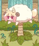 1girl animal animal_ear_fluff animal_ears animalization bangs blonde_hair blush curled_horns day eyebrows_visible_through_hair fox_ears fox_tail hair_between_eyes highres horns jungle kemomimi-chan_(naga_u) long_hair naga_u nature original outdoors palm_tree sheep sidelocks solo sparkle tail tree v-shaped_eyebrows violet_eyes