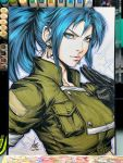 black_gloves blue_eyes blue_hair earrings gloves green_jacket hairband high_ponytail highres jacket jewelry leona_heidern lips looking_at_viewer military military_uniform pocket ponytail snk stanley_lau the_king_of_fighters traditional_media triangle_earrings uniform
