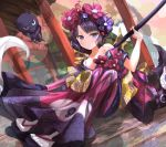 1girl calligraphy_brush fate/grand_order fate_(series) giant_brush hair_ornament hairpin holding holding_paintbrush japanese_clothes katsushika_hokusai_(fate/grand_order) kimono octopus off_shoulder outdoors paintbrush print_kimono purple_hair purple_kimono sakazakinchan sitting tabi tokitarou_(fate/grand_order) violet_eyes wide_sleeves zouri