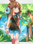 1girl blue_shorts blush brown_eyes brown_hair closed_mouth clouds commentary_request day eyelashes gen_1_pokemon green_(pokemon) hair_flaps highres hyou_(hyouga617) knees leaves_in_wind light_beam long_hair looking_to_the_side mew mythical_pokemon outdoors pokemon pokemon_(creature) pokemon_(game) pokemon_lgpe pokemon_on_back shirt shorts sidelocks sky sleeveless sleeveless_shirt smile squirtle starter_pokemon tree wristband