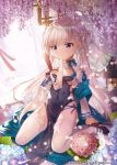 1girl apple_caramel azur_lane bangs belchan_(azur_lane) belfast_(iridescent_rose)_(azur_lane) black_footwear blue_bow bow braid breasts chinese_clothes commission covered_navel dress earrings fan flower folding_fan gloves hand_on_breast heart heart_earrings highres holding holding_fan hydrangea jewelry kneeling long_hair mouth_hold partly_fingerless_gloves pelvic_curtain ring small_breasts solo thigh-highs violet_eyes white_hair white_legwear wisteria