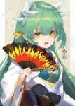 1girl absurdres blush breasts dragon_girl dragon_horns fan fate/grand_order fate_(series) folding_fan green_hair hair_ornament highres holding holding_fan horns japanese_clothes kimono kiyohime_(fate/grand_order) long_hair looking_at_viewer multiple_horns open_mouth same_(sendai623) sash yellow_eyes