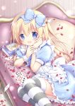 1girl :d ace_of_hearts alice_(wonderland) alice_in_wonderland apron blonde_hair blue_bow blue_dress blue_eyes blush book bow card club_(shape) commentary_request couch diamond_(shape) dress feet_out_of_frame frilled_apron frilled_dress frills hair_bow hands_up heart long_hair looking_at_viewer lying nanase_miori on_couch on_side one_side_up open_mouth petals pillow playing_card puffy_short_sleeves puffy_sleeves short_sleeves smile solo spade_(shape) striped striped_legwear thigh-highs very_long_hair waist_apron white_apron wrist_cuffs