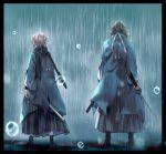 1boy 1girl black_border border fate/grand_order fate_(series) from_behind hakama haori highres japanese_clothes katana okita_souji_(fate) okita_souji_(fate)_(all) ponytail rain saitou_hajime_(fate) scarf sheath shinsengumi sword tmtm24787088 weapon