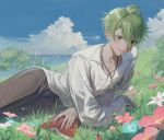 1boy absurdres ahoge alternate_costume amami_rantarou bangs blush book bush clouds danganronpa day ear_piercing flower grass green_eyes green_hair hair_between_eyes highres jewelry lying male_focus migumi necklace new_danganronpa_v3 on_side outdoors pants parted_lips piercing shirt sky solo white_shirt