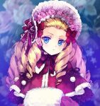 1girl alice_(messiah) blonde_hair blue_eyes bonnet bow carnelian drill_hair earrings flower flower_earrings forehead hair_bow hat jewelry long_hair looking_at_viewer messiah_(game) muff red_bow solo