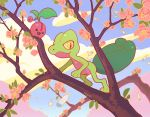 artist_name cherubi clouds commentary flower gen_3_pokemon gen_4_pokemon leaf no_humans open_mouth outdoors pegushi pink_flower pokemon pokemon_(creature) sky smile tongue tree_branch treecko watermark