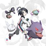1boy ahoge allister_(pokemon) black_hair collared_shirt commentary_request dusk_ball extraspiky galarian_corsola galarian_form galarian_yamask gen_1_pokemon gen_8_pokemon gengar highres holding holding_poke_ball long_sleeves looking_at_viewer looking_to_the_side number open_mouth poke_ball pokemon pokemon_(creature) pokemon_(game) pokemon_swsh shirt shoes shorts side_slit side_slit_shorts sinistea sleeves_past_wrists socks tongue white_footwear white_legwear