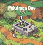 ! 1boy 1girl backpack bag baseball_cap charmander commentary copyright_name flower game_boy gen_1_pokemon gen_8_pokemon gloria_(pokemon) grass handheld_game_console hat outdoors path pixel_art pokemon pokemon_(game) pokemon_rgby red_(pokemon) scorbunny spoken_exclamation_mark starter_pokemon tam_o'_shanter tree tree_stump yamada_taro