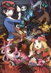 1boy 1girl :o black_hair blaziken blonde_hair blue_jacket calem_(pokemon) clauncher commentary_request dedenne eyewear_on_headwear froakie gen_3_pokemon gen_4_pokemon gen_6_pokemon grey_eyes handheld_game_console hat holding holding_handheld_game_console holding_stylus honedge inkay jacket long_hair long_sleeves lucario mega_blaziken mega_lucario mega_pokemon nintendo_ds noii noivern open_mouth pancham pleated_skirt pokemon pokemon_(creature) pokemon_(game) pokemon_xy red_headwear red_skirt serena_(pokemon) skirt smile spritzee stylus sunglasses sylveon talonflame teeth tongue vivillon