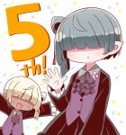 2girls 7th_dragon_(series) 7th_dragon_iii :d :o ascot bangs black_jacket black_skirt blonde_hair blush brown_neckwear chika_(7th_dragon) collared_shirt commentary_request confetti facing_viewer frilled_sleeves frills grey_hair grey_shirt hair_bun hair_over_eyes hand_up highres jacket long_sleeves multiple_girls naga_u open_mouth outstretched_arms parted_lips purple_vest shirt short_hair side_bun simple_background skirt smile vest white_background