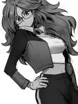 1girl android_21 blue_eyes breasts dragon_ball dragon_ball_fighterz fingernails glasses greyscale hair_ornament hand_on_hip jacket kemachiku long_hair looking_at_viewer medium_breasts midriff monochrome navel open_clothes open_jacket solo