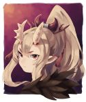 1girl absurdres blonde_hair border closed_mouth hair_ornament hairpin high_ponytail highres horns iga_(okame_nin) long_hair looking_at_viewer okame_nin orange_eyes original pointy_ears portrait red_background solo spiked_horns tassel white_border