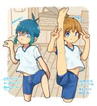 2boys artist_request blue_eyes child commentary gym_shorts highres holding_legs indoors leg_lift leg_up looking_at_viewer male_focus multiple_boys original school shorts standing standing_on_one_leg