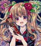 1girl :d aerial_fireworks bangs black_kimono blonde_hair blurry blurry_background blush commentary_request depth_of_field eyebrows_visible_through_hair fireworks floral_print flower green_outline hair_between_eyes hair_flower hair_ornament hands_up holding japanese_clothes kimono kokeshi long_hair mizuki_yuuma open_mouth original outline print_kimono red_flower smile solo twintails twitter_username upper_body very_long_hair