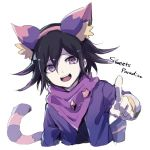 1boy alternate_costume animal_ears asuna_(doruru-mon) bangs black_hair cat_ears cat_tail commentary_request cropped_torso danganronpa fake_animal_ears hair_between_eyes highres looking_at_viewer male_focus new_danganronpa_v3 open_mouth ouma_kokichi pink_scarf pointing pointing_at_viewer purple_hair scarf simple_background sketch smile solo tail upper_body upper_teeth violet_eyes white_background