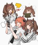 2girls :d =_= ahoge angelina_(arknights) animal_ears arknights bangs black_shirt blush book brown_eyes brown_hair cellphone closed_eyes croissant_(arknights) eojjeodagaileohgedwaessji eyebrows_visible_through_hair fox_ears grey_background grey_jacket hairband highres holding holding_book holding_phone horns jacket long_hair long_sleeves multiple_girls multiple_views open_clothes open_mouth open_shirt phone red_hairband shirt simple_background smile twintails wing_collar yellow_eyes
