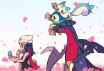 1girl beanie blue_eyes blue_hair blush_stickers chueog closed_mouth dawn_(pokemon) eyelashes flower garchomp gen_4_pokemon hair_ornament hairclip hat highres holding long_hair mouth_hold pachirisu petals pink_flower piplup pokemon pokemon_(creature) pokemon_(game) pokemon_dppt scarf watermark white_headwear