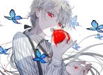 1boy black_bow black_nails blue_butterfly bolo_tie bow brooch commentary commentary_request dripping eyelashes fangs food fruit grey_hair hair_bow hand_up holding holding_food holding_fruit jewelry long_hair long_sleeves looking_at_viewer messy_hair natsuro open_mouth original pointy_ears ponytail red_eyes shirt solo spot_color stain striped striped_shirt suspenders tomato tomato_juice upper_body vampire very_long_hair white_background