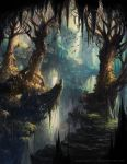 absurdres alayna_danner animal artist_name bare_tree bird cliff commentary derivative_work fantasy highres landscape magic:_the_gathering nature no_humans outdoors plant scenery tree