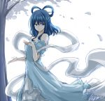 1girl absurdres artist_name bare_shoulders blue_eyes blue_hair breasts closed_mouth commentary_request dated dress eyebrows_visible_through_hair feet_out_of_frame hagoromo hair_ornament hair_rings hair_stick half-closed_eyes highres hisin kaku_seiga leaf light_blue_dress long_dress looking_to_the_side medium_breasts medium_hair puffy_short_sleeves puffy_sleeves shawl short_sleeves signature smile solo standing touhou tree white_background