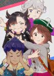 2boys 2girls :t aqua_eyes asymmetrical_bangs backpack bag bangs bede_(pokemon) black_choker black_hair black_jacket black_shirt blush bob_cut brown_backpack brown_eyes brown_hair buttons cardigan choker closed_eyes closed_mouth coat commentary_request curly_hair dark_skin dark_skinned_male dress dynamax_band fingersmile fur-trimmed_jacket fur_trim gloria_(pokemon) green_headwear grey_cardigan grey_hair hair_ribbon hat highres hooded_cardigan hop_(pokemon) jacket looking_at_viewer marnie_(pokemon) mashiro_kta multiple_boys multiple_girls pink_dress pokemon pokemon_(game) pokemon_swsh pose purple_coat purple_hair red_ribbon ribbon shirt short_hair sparkle tam_o'_shanter violet_eyes watch watch