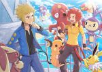 2boys absurdres afro ambipom black_shirt blonde_hair blue_eyes blue_jacket closed_mouth clouds commentary_request day drifblim elite_four fence flint_(pokemon) gen_1_pokemon gen_2_pokemon gen_3_pokemon gen_4_pokemon gen_5_pokemon gym_leader hand_up highres jacket jolteon joltik long_sleeves lopunny multiple_boys octillery open_clothes open_jacket open_mouth outdoors pants pokemoa pokemon pokemon_(game) pokemon_dppt raichu redhead sand shirt shore short_sleeves sky smile teeth tongue volkner_(pokemon) water wingull yellow_shirt