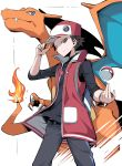 1boy badge baseball_cap belt black_pants black_shirt charizard closed_mouth coat commentary fire flame gen_1_pokemon hand_on_headwear hand_up hat highres looking_down open_clothes open_coat pants poke_ball poke_ball_(basic) pokemon pokemon_(creature) pokemon_(game) pokemon_masters_ex red_(pokemon) red_coat shimure_(460) shirt sleeves_past_elbows