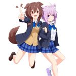 2girls animal_ear_fluff animal_ears bangs black_legwear blazer blue_jacket blue_neckwear blue_skirt blush bow bowtie braid brown_eyes brown_hair cardigan cat_ears cat_girl collared_shirt commentary_request dog_ears dog_girl dog_tail eyebrows_visible_through_hair fangs felutiahime hair_between_eyes hand_in_pocket highres holding_another's_arm hololive inugami_korone jacket loafers long_hair looking_at_viewer multiple_girls nekomata_okayu notice_lines open_blazer open_clothes open_jacket open_mouth plaid plaid_skirt pleated_skirt pointing purple_hair shirt shoes short_hair sidelocks simple_background skirt smile sneakers socks tail twin_braids violet_eyes virtual_youtuber white_background white_legwear white_shirt