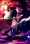 1boy belt collarbone colorful explosion green_eyes grin highres jewelry kono_subarashii_sekai_ni_shukufuku_wo! multicolored multicolored_background pants satou_kazuma shiny smile xarlasar