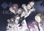 3girls 6+boys absurdres afro arm_behind_head arms_behind_head black_cape blonde_hair braid cape checkered checkered_neckwear checkered_scarf clown_mask danganronpa eyeegg hand_on_hip highres holding holding_mask logo long_sleeves mask multiple_boys multiple_girls new_danganronpa_v3 open_mouth ouma_kokichi scarf straitjacket twin_braids twintails