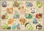 bulbasaur charmander chespin chikorita chimchar closed_mouth commentary_request cyndaquil fennekin fire flame froakie gen_1_pokemon gen_2_pokemon gen_3_pokemon gen_4_pokemon gen_5_pokemon gen_6_pokemon leaf mudkip no_humans noii oshawott piplup pokemon pokemon_(creature) red_eyes smile snivy squirtle tepig torchic totodile treecko turtwig