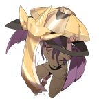 1boy aegislash arms_up bandaged_arm bandaged_foot bandages commentary_request dark_skin dark_skinned_male facial_hair gen_6_pokemon holding holding_pokemon kneeling korean_commentary leon_(pokemon) long_hair pants pokemon pokemon_(creature) pokemon_(game) pokemon_swsh purple_hair redlhzz sleeves_past_elbows teeth