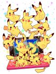 black_eyes chueog closed_eyes commentary_request gen_1_pokemon handheld_game_console highres nintendo_3ds no_humans open_mouth pikachu pokemon pokemon_(creature) smile sparkle tongue