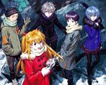 2girls 3boys absurdres ayanami_rei coat coffee gloves highres ikari_shinji multiple_boys multiple_girls nagisa_kaworu neon_genesis_evangelion official_art sadamoto_yoshiyuki scarf snow souryuu_asuka_langley suzuhara_touji winter_clothes