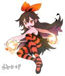 1girl bare_arms bare_shoulders black_dress borrowed_character bow bow_hairband brown_hair colored_inner_hair ddari dress fang fire hair_bow hairband halftone highres long_hair looking_at_viewer multicolored_hair open_mouth original pantyhose red_bow red_eyes red_hairband red_legwear simple_background solo striped striped_legwear white_background zakuro_(rariatto)
