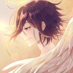1boy angel angel_wings bangs commentary_request danganronpa ewa_(seraphhuiyu) face feathered_wings feathers from_side gradient gradient_background grin half-closed_eye halo highres male_focus messy_hair new_danganronpa_v3 orange_background ouma_kokichi profile purple_hair smile solo teeth violet_eyes white_feathers wings