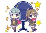 2girls aqua_hair beige_cardigan brown_hair brown_jacket brown_legwear brown_skirt cardigan celestial_sphere chibi commentary_request constellation full_body globe green_eyes hair_ornament hairclip heart jacket kantai_collection kumano_(kantai_collection) long_hair looking_at_viewer multiple_girls orange_neckwear pleated_skirt ponytail remodel_(kantai_collection) school_uniform simple_background skirt standing star_(symbol) suzuya_(kantai_collection) teramoto_kaoru thigh-highs white_background