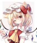 1girl ;) animal_ears artist_name ascot blonde_hair blush border bow breasts cat_ears closed_mouth commentary_request crystal eyebrows_visible_through_hair eyes_visible_through_hair fang flandre_scarlet frilled_shirt_collar frills hair_between_eyes hair_bow hat highres kemonomimi_mode looking_at_viewer medium_breasts medium_hair mob_cap one_eye_closed one_side_up paw_pose pudding_(skymint_028) puffy_short_sleeves puffy_sleeves red_bow red_eyes red_vest short_sleeves signature simple_background skin_fang smile solo touhou upper_body vest white_background wings yellow_neckwear