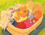 artist_name basket blue_eyes closed_mouth commentary day from_above gen_3_pokemon grass lying no_humans on_back outdoors pegushi petals pokemon pokemon_(creature) solo torchic watermark yarn yarn_ball